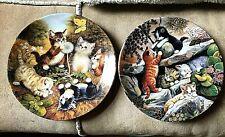 "2 X Bradex Cat Collectors Plates, Cats/Kittens German collection 8"" diam VVGC"