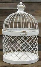 "Bird Cage Distressed White Metal 14.5""H Candle Holder Wedding Card Box Holder"