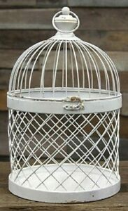 "Bird Cage Distressed White Metal 14.5""H Candle Holder Wedding Card Box Holder"