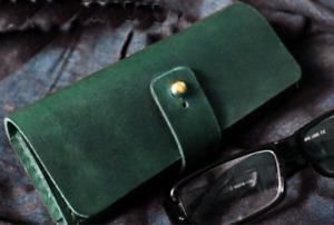 men women Eyeglass Cases sunglasses bag holder cow Leather Customize green z324