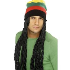 Da Uomo Rasta Cappello Parrucca Nera Lunga Dreadlocks Jamaican FANCY DRESS Marley Reggae divertente