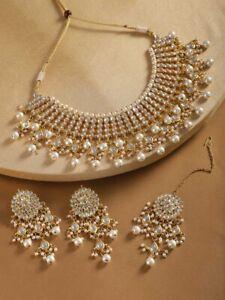 Indian Kundan Choker Designer Necklace Set Earrings With Tikka Set Women Jewelry
