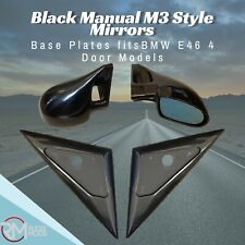 Black Manual M3 Style Mirrors & Base Plates fits BMW E46 4 Door Models