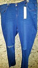 SALE! NWT New Look women's skinny blue denim jeans 20 W w/ripped knees $ 24.99!