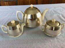 Vintage Sadler 3-piece White Tea Set w/ Metal Cozies/Covers: Teapot,Creamer,bowl