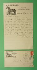 DR WHO 1907 HOPSON HORSES & MULES ADVERTISING MEADVILLE MO + LETTER LC241498