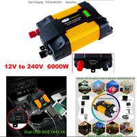 6000W DC12 to AC 220V Car Power Inverter Charger Solar Converter Sine Wave
