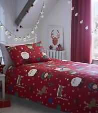 CHRISTMAS SANTA ELVES PRESENTS CIRCLE SNOWFLAKES RED WHITE DOUBLE DUVET COVER