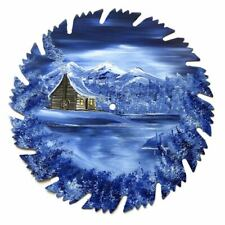 Hand Painted Saw Blade Art Mountain Winter Blue Log Cabin 9 Inch Blade