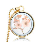 Fashion Jewelry Lady Alloy Gold Silver Necklaces Round Dried Flower Pendants Usa