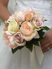 NEW BRIDAL WEDDING BOUQUET VINTAGE ARTIFICIAL SILK FLOWER PINK PEONY CREAM ROSE