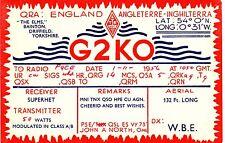 Z354 Carte QSL Radio Amateur Opérateur G2KO en ENGLAND a INGHILTERRA