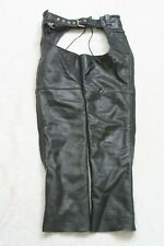 FMC Black Leather Chaps Adjustable Motorcycle Wear XXS First Manufacturing G21