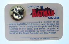 Official Batman Club Membership Card 1966 from Ben Novack Jr. Estate Collection