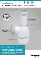 Wiquin Macdee Universal All In One Bottle Basin Sink Trap - White Easy to Fit