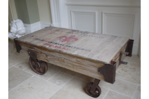 Railway Cart Coffee Table - Stencil Design Work, Iron Wheels & Detailing