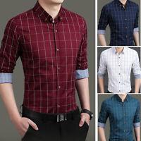 Luxury New Men's Plaids Formal Casual Business Slim Stylish Dress Shirts ATT6283