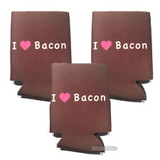 I LOVE BACON CAN COOLER (3 PACK) I HEART BACON BEER SODA FOAM INSULATOR SLEEVE