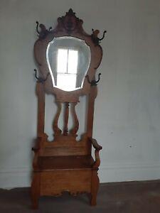 Antique tiger Oak Bench Hall Seat rack  beveled mirror hat coat lion head hooks