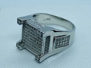 Solid Genuine 925 Sterling Silver Square Castle CZ Men's Pinky Ring
