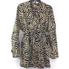 Dana Buchman Animal Print Coat Size Large Tan Black Button Front Waist Tie