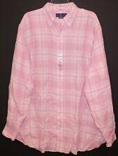 Polo Ralph Lauren Big and Tall Mens Pink Plaid Linen Button-Front Shirt NWT 3XLT
