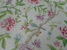 Sanderson Curtain Fabric 'Porcelain Gardens' 1.75 METRES Magenta/Leaf  Linen Mix