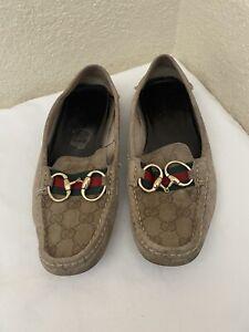 Gucci Monogram Khaki Suede Web HorseBit Loafers Driving Moccasins Women Sz 8B