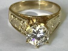 14k solid Real Gold Ring Vintage Yellow manmade Diamond Engagement 1.5ct 8 6 7 9