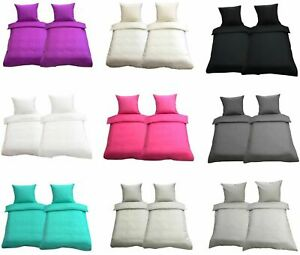Bettwäsche 135x200 Bettwaren Kissen Bezug Einfarbig 2-tlg 4-tlg Mikrofaser Uni