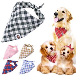 5pcs Pet Cat Dog Bandana Slide On Collar Soft Cotton Neck Scarf Neckerchief Gift