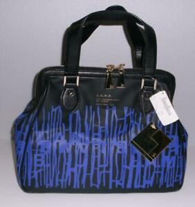 NWT L.A.M.B.  Rowland Leather Handbag Satchel in Barcode Black and Blue