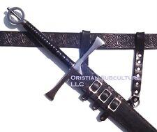 Black Leather Sword Frog SCA LARP armor hanger carrier