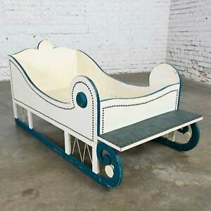 Vintage Toddler or Dog Sleigh Style Bed White with Blue Trim & Nail Head Design