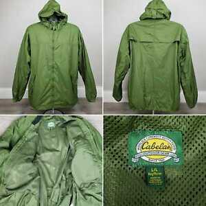 CABELA'S Hooded Windbreaker MENS L VENTED Mesh Lined GREEN outdoor Weatherproof