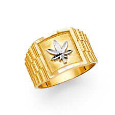 Men 14k Yellow White Real Gold Marijuana Leaves Leaf Weed Fashion Ring Band