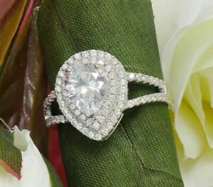 Double Halo Split Shank Engagement Ring 3ct Pear Cut Diamond 14k White Gold Over