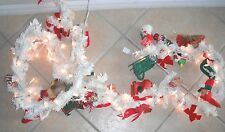 White Wire Christmas Garland Many Ornaments On It Works Lights Up Older Style @