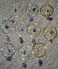 LOVELY NEW SILVER or GOLD AMETHYST DREAM CATCHER PENDANT COMES WITH FREE POUCH