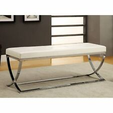 Leather Bench Entry Hallway Living Room Bedroom Seat End Of Bed Ottoman White
