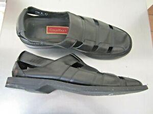 COLE HAHN Black Leather Designer Dress Sandals Shoes Size 10.5
