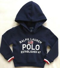 POLO RALPH LAUREN Boys Girls Hoodie Pullover Sweatshirt Blue NWT $55 SIZE 4 4T