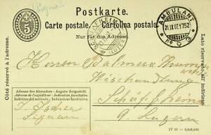 SWITZERLAND 1907 5 FRANCO POSTAL CARD FROM AMBULANT TO LUZERN