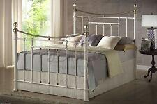 Birlea Bronte Double Bed - 4ft6 135cm - Victorian Style Metal Bedstead - Cream