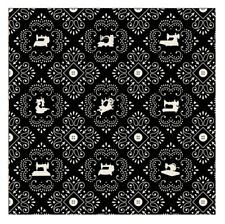Sewing Fabric - Cute as Button Machine Bandana Black - Quilting Treasures YARD