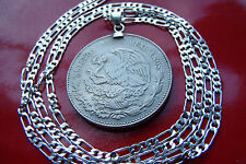 "1980-1982 Mexican Eagle 20 Pesos on a 24"" 925 Silver Link Style Chain"