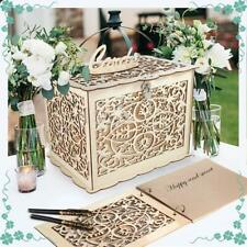 Rustic Wedding Card Box with Lock and Card Sign Wooden Gift Card Box Money Box