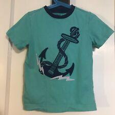 Gymboree Rock The Waves Anchor Guitar Green Short Sleeve Shirt Boys Size 4
