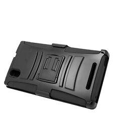 BLACK RUBBERIZED HARD CASE + BELT CLIP HOLSTER STAND FOR T-MOBILE ZTE ZMAX Z970