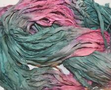 10 yards Recycled Sari Silk Ribbon Yarn, Aqua Pink for tassels,embellishment